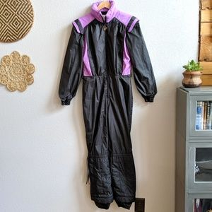 Vintage Jan Hart Purple and Black Ski Suit Size 10